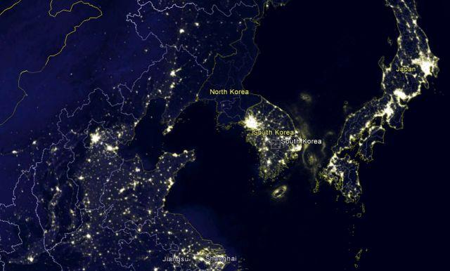 Korėja naktį iš kosmoso