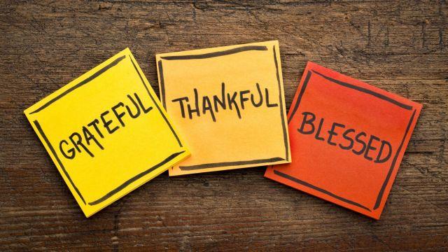dėkingas, palaimintas