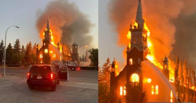 Kanadoje dega katalikų bažnyčia